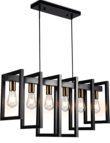 Modern Kitchen Island Light Pendant Chandelier 6-Light Ceiling Light Industrial Pendant Lighting Fixture Matte Black