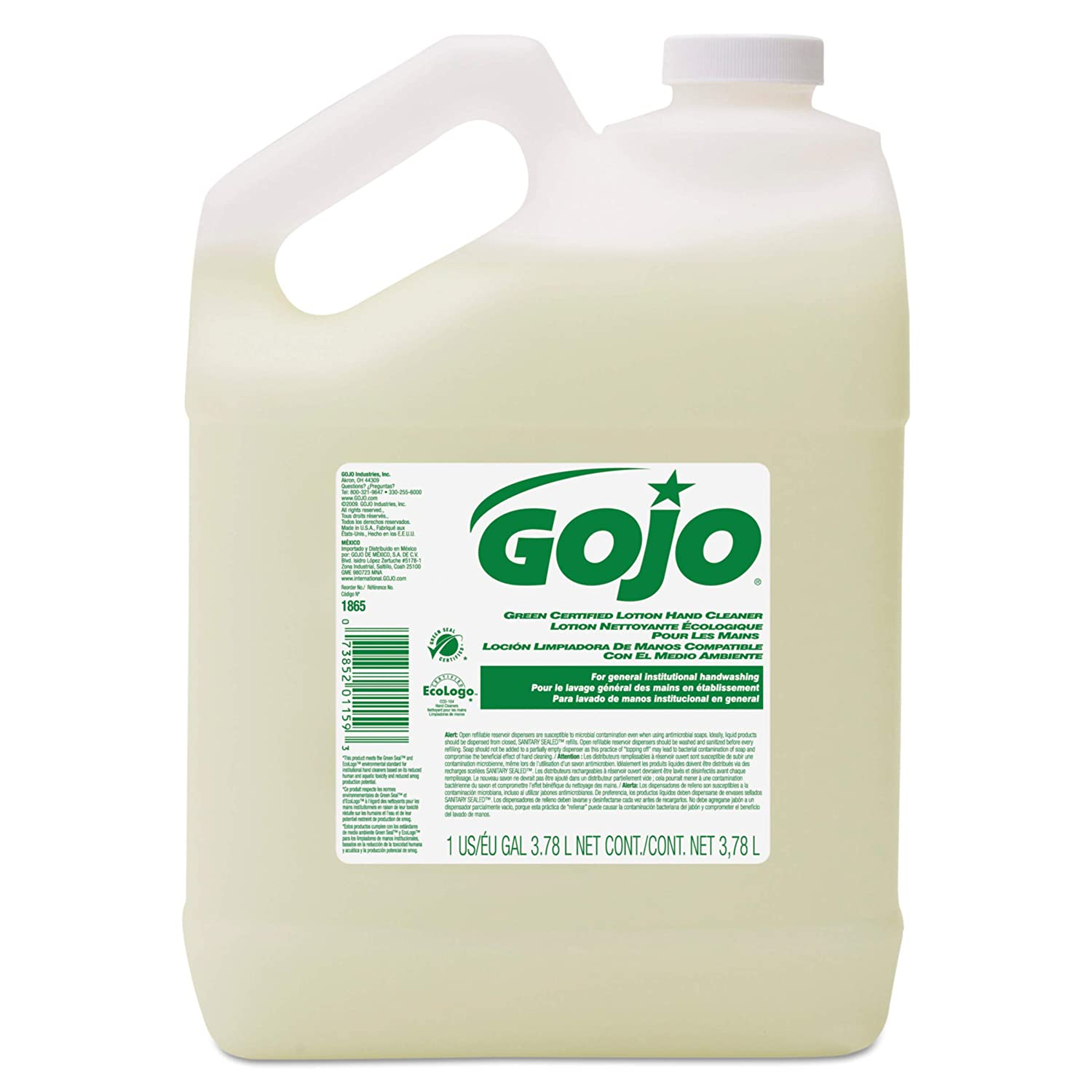 GOJO Green Certified Mild Lotion Hand Cleaner, EcoLogo Certified, 1 Gallon Lotion Soap Pour Bottle (Case of 4) - 1865-04