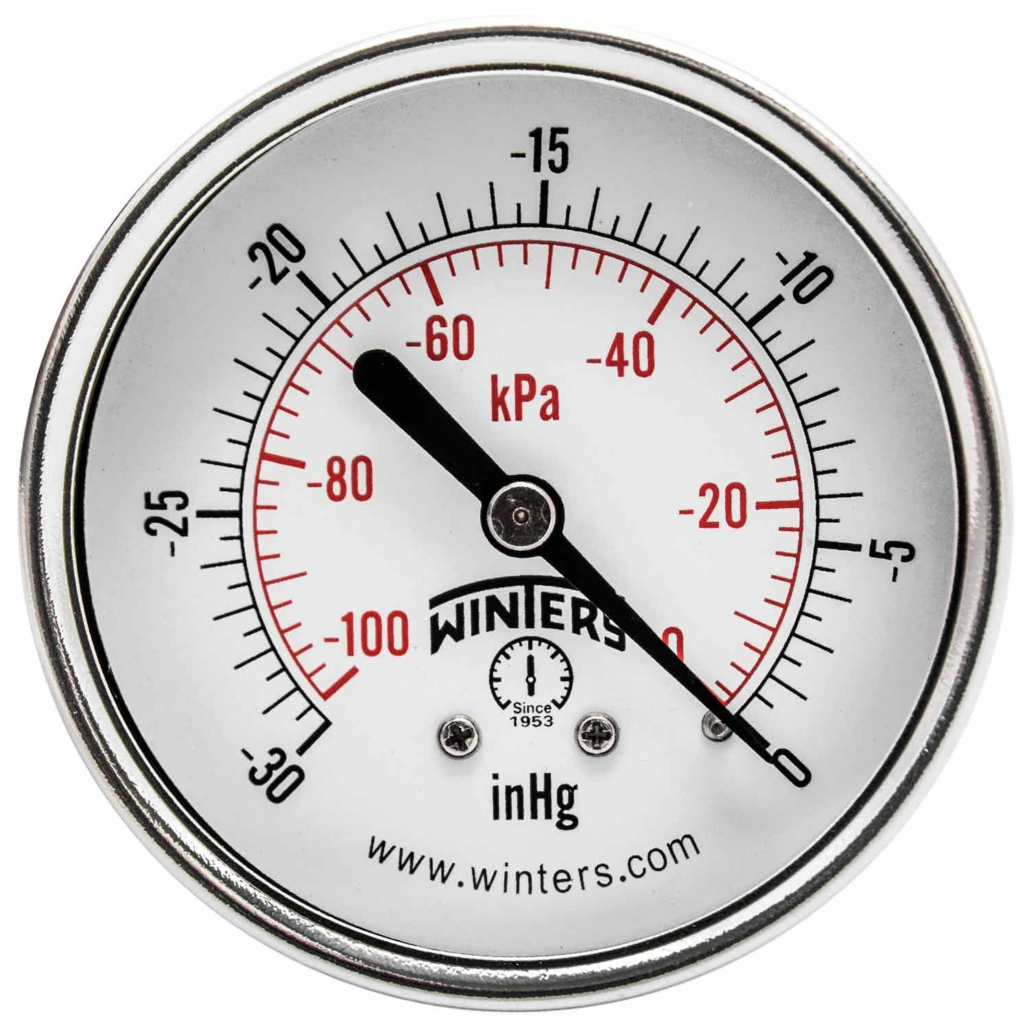 "Winters PEM Series Steel Dual Scale Economy Pressure Gauge, 30""Hg Vacuum/kpa, 2-1/2"" Dial Display, +/-3-2-3% Accuracy, 1/4"" NPT Center Back Mount"