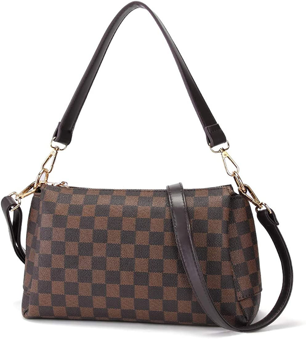 Checkered Tote Shoulder Bag Crossbody Bags for Women with Inner Pouch PU Vegan Leather