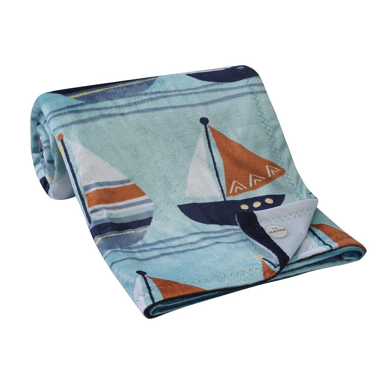30x 40 Blue//Navy//White Nautical Soft Minky Baby Blanket Baby Product tokolamb