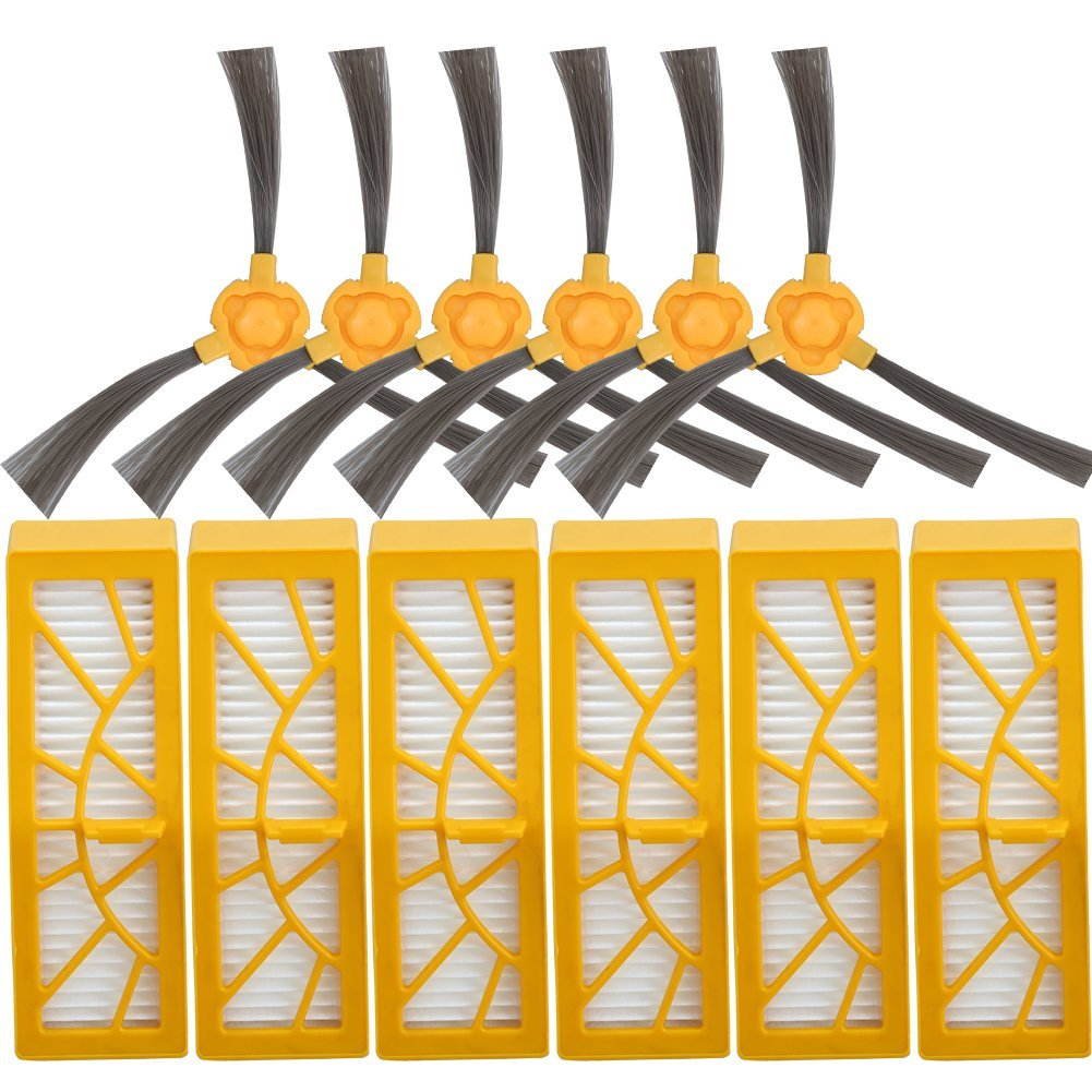 BettaWell Accessory Kit For Ecovacs DEEBOT D35 Robot Vacuum Cleaner 6pcs Side Brushes, 6pcs HEPA Filters