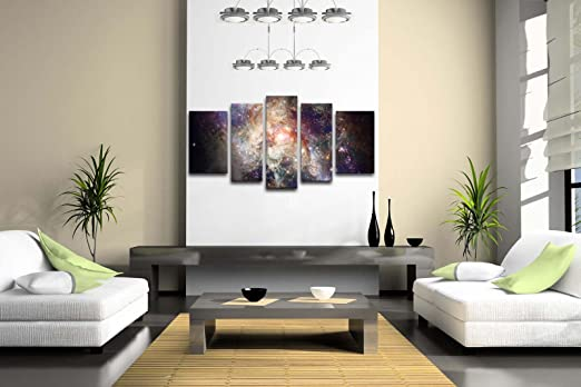 5 Panel Wall Art Star Field In Space And A Nebulae Painting