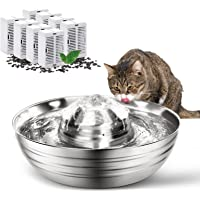 OPOLEMIN Stainless Steel Cat Water Fountain with 8 Replacement Filters, 67oz/2L Cat Water Dispenser Easy Assemble& Clean…