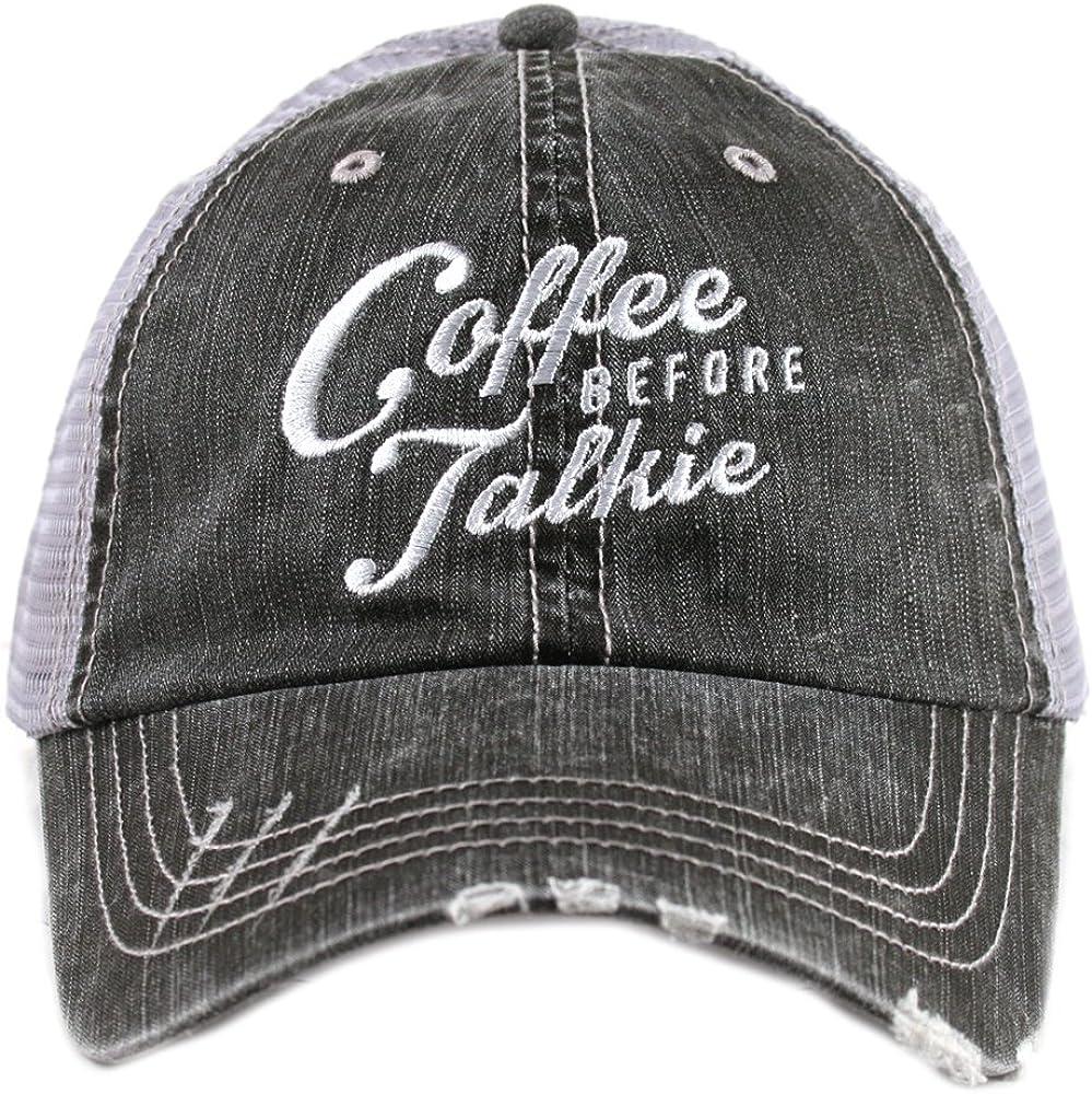 Women/'s Gray Trucker Hat Katydid Coffee Before Talkie Trucker Hat