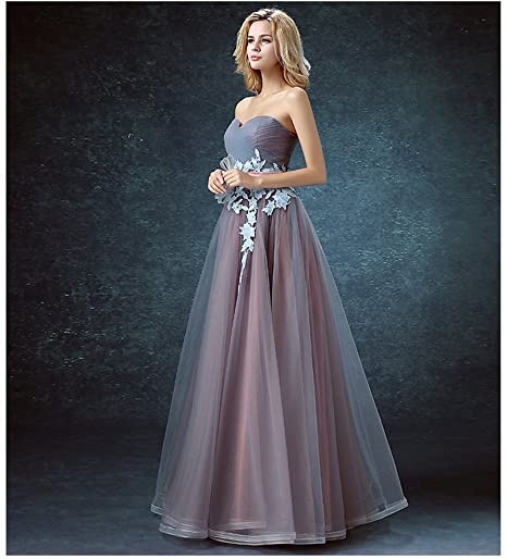 Drasawee Women Strapless Fineness Applique Bridesmaid Prom Dress Sweet Neckline Maxi Homecoming Evening Party Gowns UK10: Amazon.co.uk: Clothing