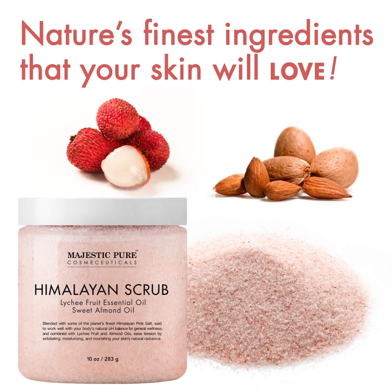 Majestic Pure Himalayan Salt Body Scrub with Lychee Essential Oil All Natural Scrub to Exfoliate