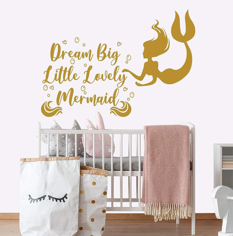 Dream Big Little Mermaid Wall Decal, Nautical Nursery Decor Baby Girl, Mermaid Sticker Kids, Dream Big Wall Art, Dream Big Little One
