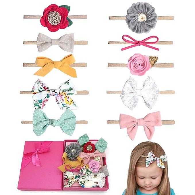 Elesa Miracle Baby Girl Nylon Headbands and Bows Gift Box Set for Newborn  Infant Toddler Kids 40c727d2f3b9