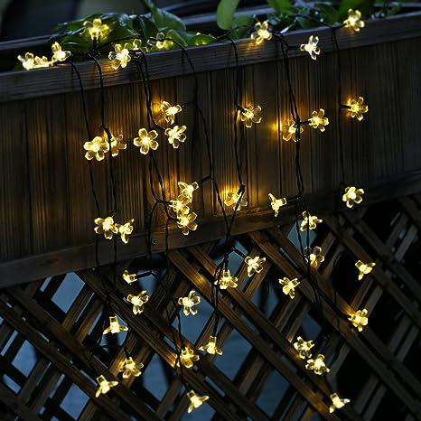 Cadena de Luce Solar Navidad 50 LED de de Flores Melocotón de Energía Navidad Impermeable para ...