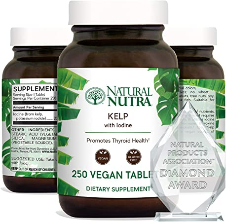 Natural Nutra Kelp Iodine Supplement, Supports Thyroid, Strengthen Immune System, Regulates Metabolism, Boost Cognitive Ability, Vegan Sea Kelp, Atlantic Sourced Seaweed Extract 225 mcg 250 Tablets