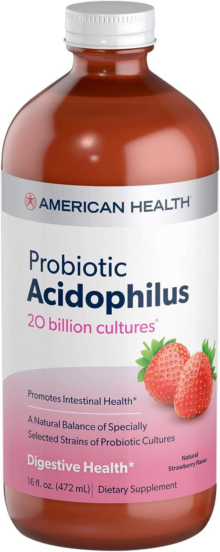 American Health Probiotic Acidophilus, Natural Strawberry Flavor - Promotes Intestinal Health, Encourages Nutrient Absorption & Immune Health - Gluten-Free, Vegetarian - 16 Fl Oz, 15 Total Servings