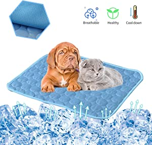 PETSTATION Dog Cooling Mat Pad, Pet Cat Ice Silk Self Cooling Pad Blanket for Floor,Kennels,Crates,Beds,Couch,Car Seat, Indoor or Outdoor (28'' x 22'')