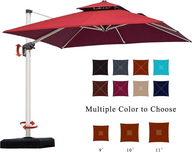 PURPLE LEAF 11 Feet Double Top Deluxe Square Patio Umbrella Offset Hanging Umbrella Outdoor Market Umbrella Garden Umbrella, Terra