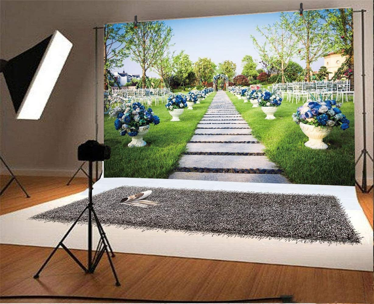 Garden Wedding Backdrop 10x6.5ft Polyester Royal Blue Flowers Stand Lond Cement Board Way to Wedding Ceremony Booth Photography Background Bride Groom Wedding Portrait Shoot Bride Shower Party