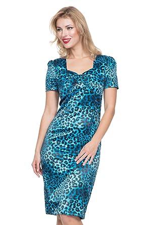 c7944b647b VOODOO VIXEN Serena Blue Leopard Print Dress  Amazon.co.uk  Clothing