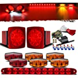 Partsam Submersible Under 80' LED Trailer Light Kit,Square Stop Turn Tail RV Truck Lights w/Wire &Bracket,Red/Amber Side…