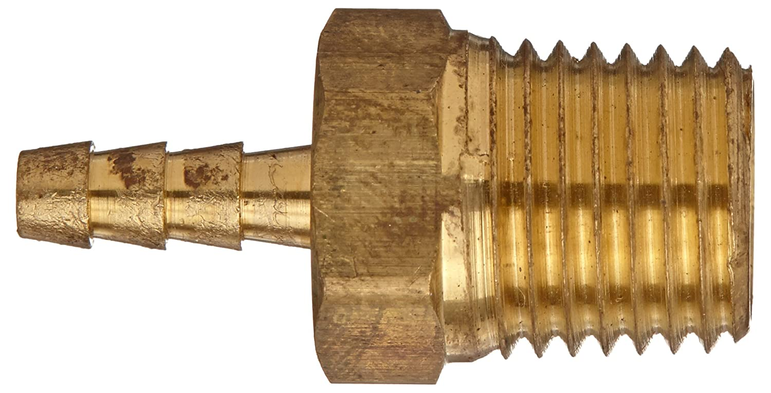 1//4 Barb x 1//8 NPT Male Pipe Adapter Anderson Metals 57001-0402 Brass Hose Fitting
