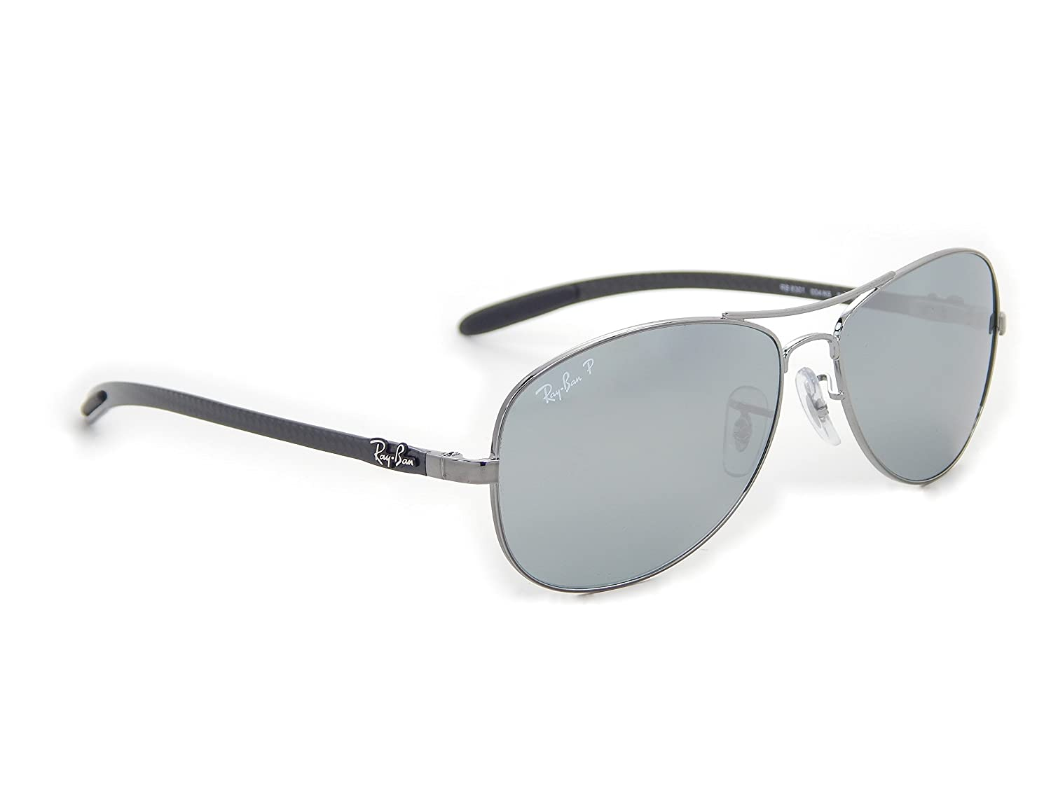 820581f482 Ray Ban Tech Carbon Fiber RB8301 Shiny Gunmetal   Silver Mirror Polarized  004 K6 59mm Sunglasses  Amazon.co.uk  Shoes   Bags