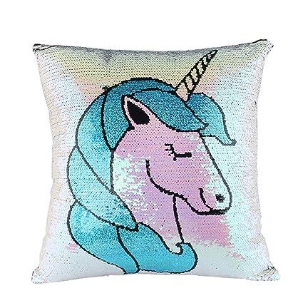 JER 1pc Unicornio de Almohada Cubierta de Lentejuelas mágicas Reversibles Lentejuelas Almohadas Caso de la Sirena de Cubiertas del Amortiguador ...