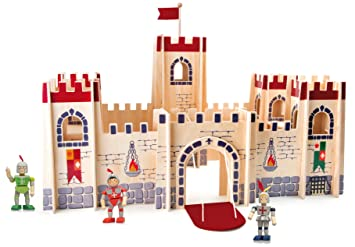 Wooden Toy Castle And 3 Wood Knights Medieval Creative Playset