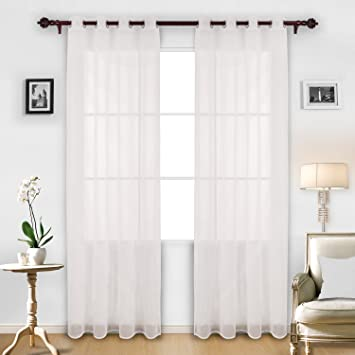 deconovo curtains linen look white sheer curtains sheer panels for bedroom 52w x 95l inch white