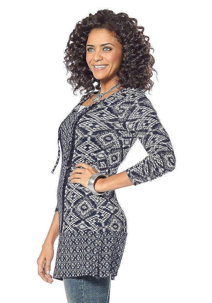 Boysens Damen Jersey Tunika Bluse Inka Muster (Marine, 40