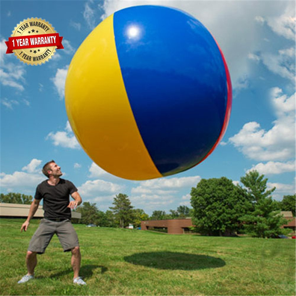 BroBee 60In Over Sized Giant Inflatable Beach Football Floating Pool Soccer Ball for Party Play Game Toy