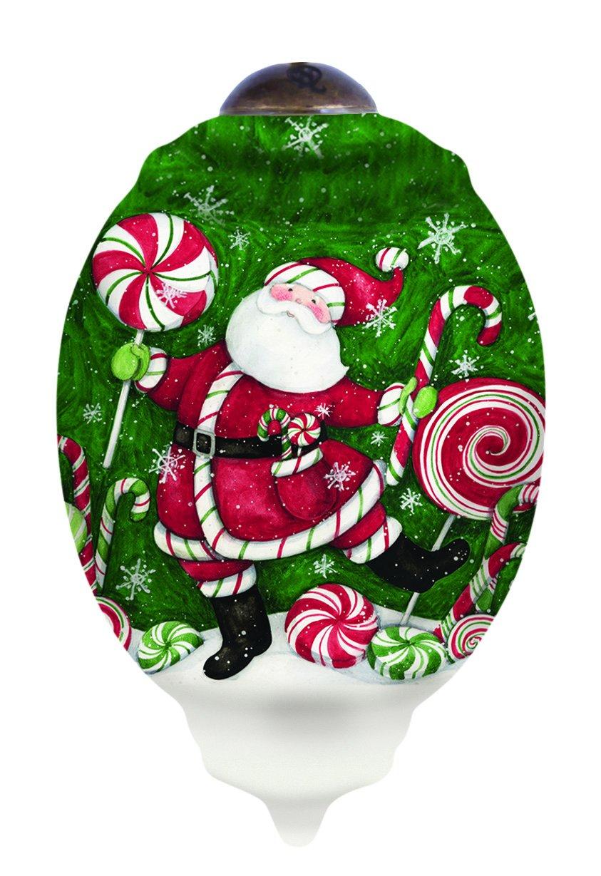 "Ne'Qwa Art, Christmas Gifts, ""Santa's Peppermint Fun"" Artist Susan Winget, Petite Trillion-Shaped Glass Ornament, #7151173"