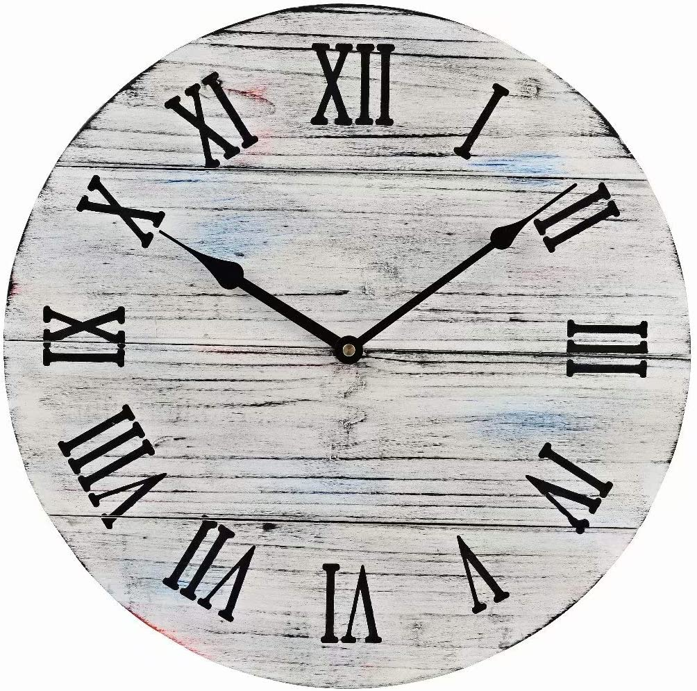 15.5-Inch White Rustic Farmhouse Wood Large Decorative Wall Clock Silent Non-Ticking Battery Operated with Black Roman Numerals for Home Decor
