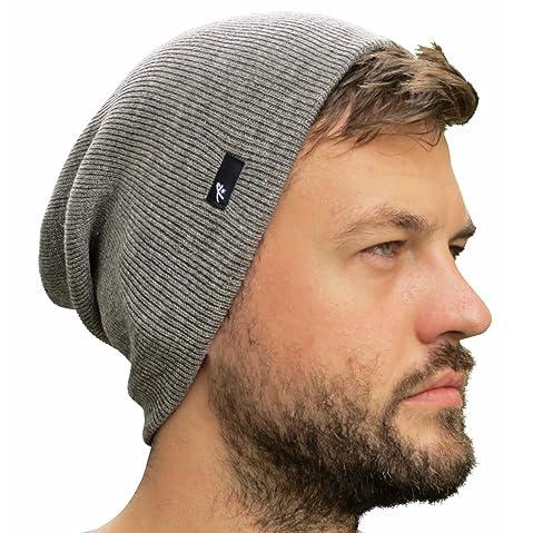 77b5778ed Grace Folly Slouch Beanie Hat for Men (Skull Cap) with Bonus Keychain