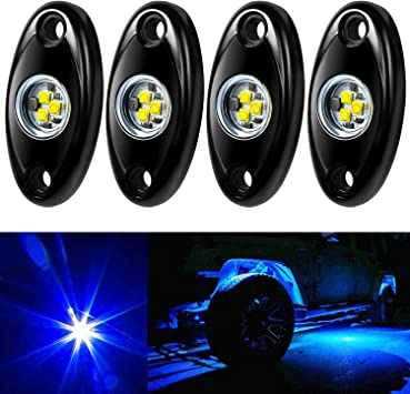4 Pods RGB LED White Rock Lights Underglow CREE LED Wheel Light Kit for Cars Trucks Jeep Motorcycle Offroad Boat ATV UTV SUV Lamp Trail Fender Automatic Control Lighting