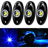 Amak 4 Pods LED Rock Light Kit for Jeep ATV SUV Offroad Car Truck Boat Underbody Glow Trail Rig Lamp Underglow LED Neon…