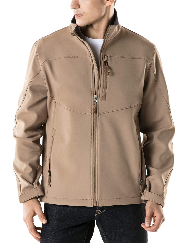 TSLA Men's Softshell Athletic Microfleece Active Wind-Repel Coat Full-Zip Outdoor Water-Proof Jacket, Active Softshell(ykj80) - Coyote, Medium by TSLA