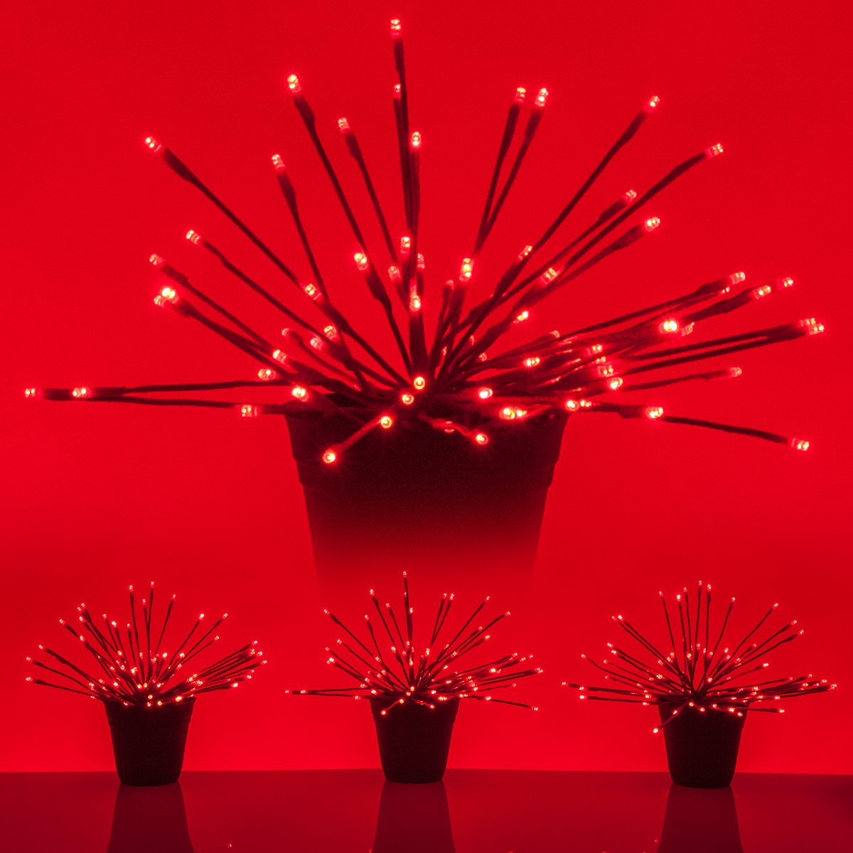 LED Starburst 5mm Starlight Christmas Lights - Light Balls - Lighted Branches (15'', Red Branches/Red Twinkle Lights, Set of 3)