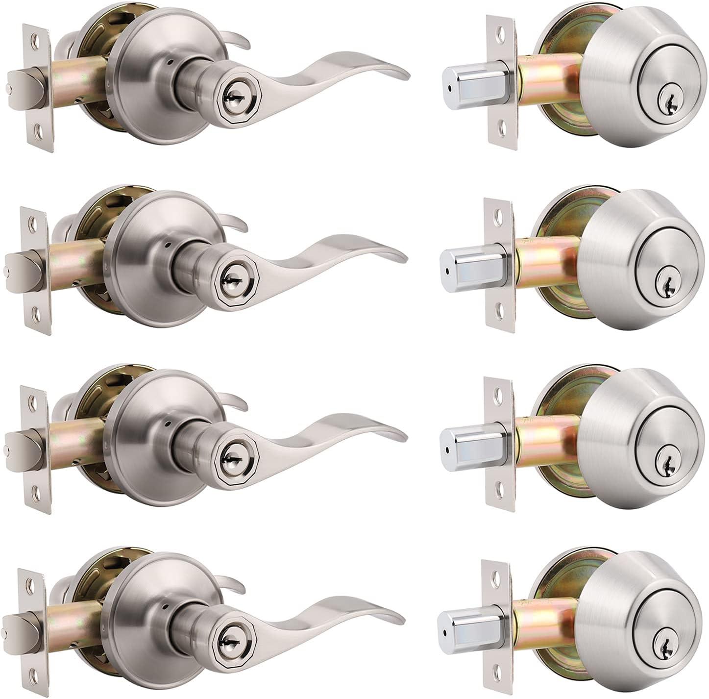 4 Pack Keyed Alike Front Door Entry Lever Lockset and Single Cylinder Deadbolt Combination Set, Wave Style Door Handle Set for Front Door or Office, Reversible for Right or Left Handed, Satin Nickel