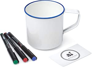 Personalize Your Own Mug Kit, Enamel Stainless Steel Giant 17oz Coffee Mug, Drawing Kit, Gifts For Mom, Kids Mug, For Camping, Travel and Craft Fun, Color Your Own Mug, Kids Drawing Kit