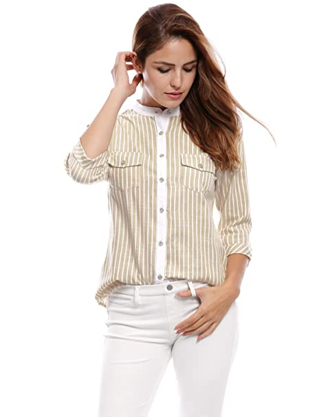 8ac1248ff40 Allegra K Women s Cuffed 3 4 Sleeves Stand Collar Buttoned Striped Shirt XS  Beige