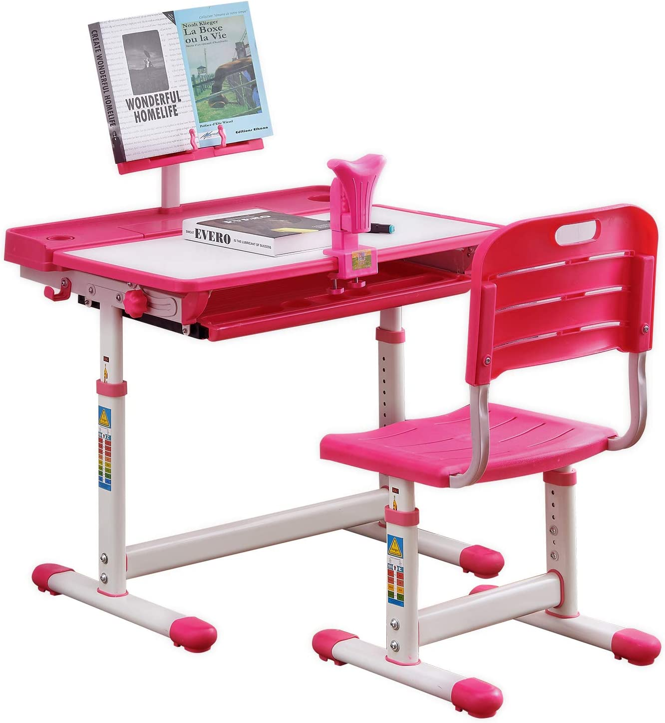 BOJOY Kids Desk,Kids Study Table and Chair Set Adjustable Children Desk School Student Writing Desk w/Pull Out Drawer Storage,Pencil Case,Bookstand (Pink)
