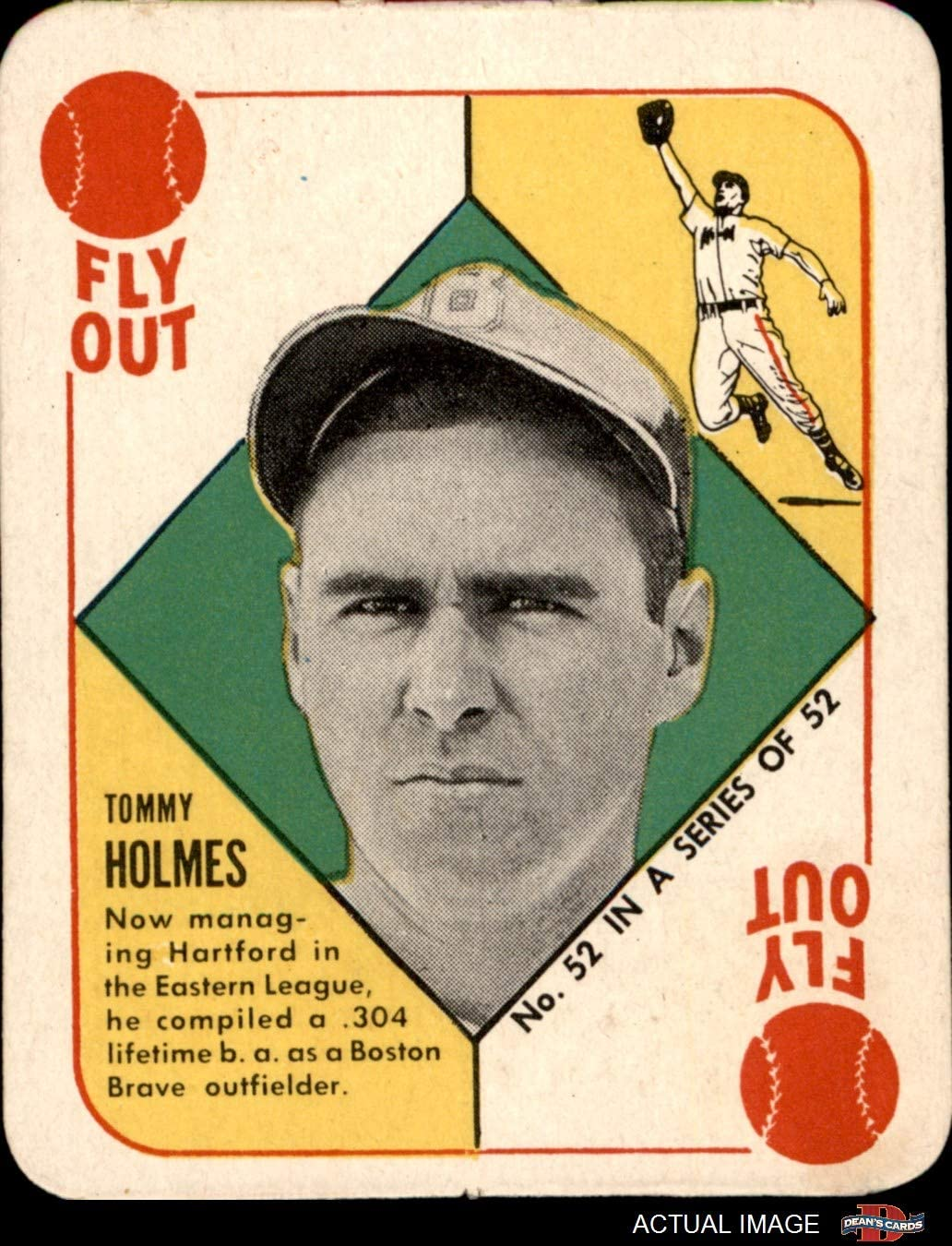 "1951 Topps # 52 HAR Tommy Holmes Boston Braves (Baseball Card) (Bio Begins""Now Managing Hartford"") Dean's Cards 4 - VG/EX Braves 71bbDwpo2ULSL1350_"