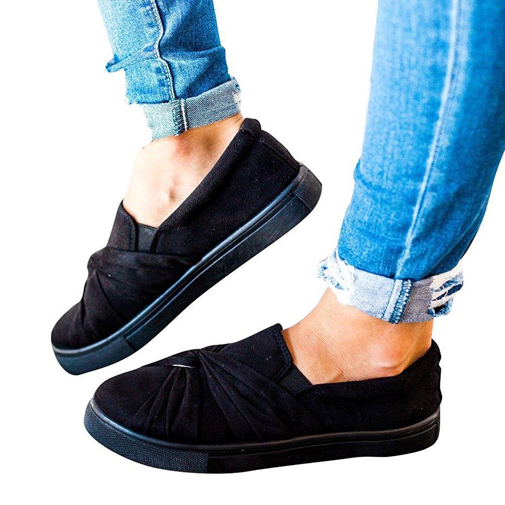 Blivener Women's Loafers Slip On Flatform Top Ruched Knot Fashion Sneaker 03Black US7.5