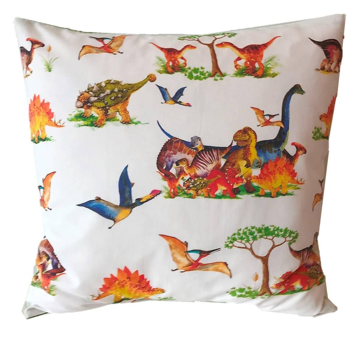 Kissenhülle 40 X 40 cm Dinosaurier Dino Dinos Grün Blau Kissenbezug für Kissen Kinder 100 % Baumwolle BW Jungen Jungs Kinderkissen Kindergarten TryPinky®
