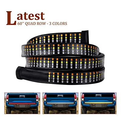 """SWATOW 4x4 60"""" LED Tailgate Light Bar - Quad Row - Sequential Amber Turn Signal/Double Flash/Reverse/Brake/Running - Plug n Play: Automotive"""