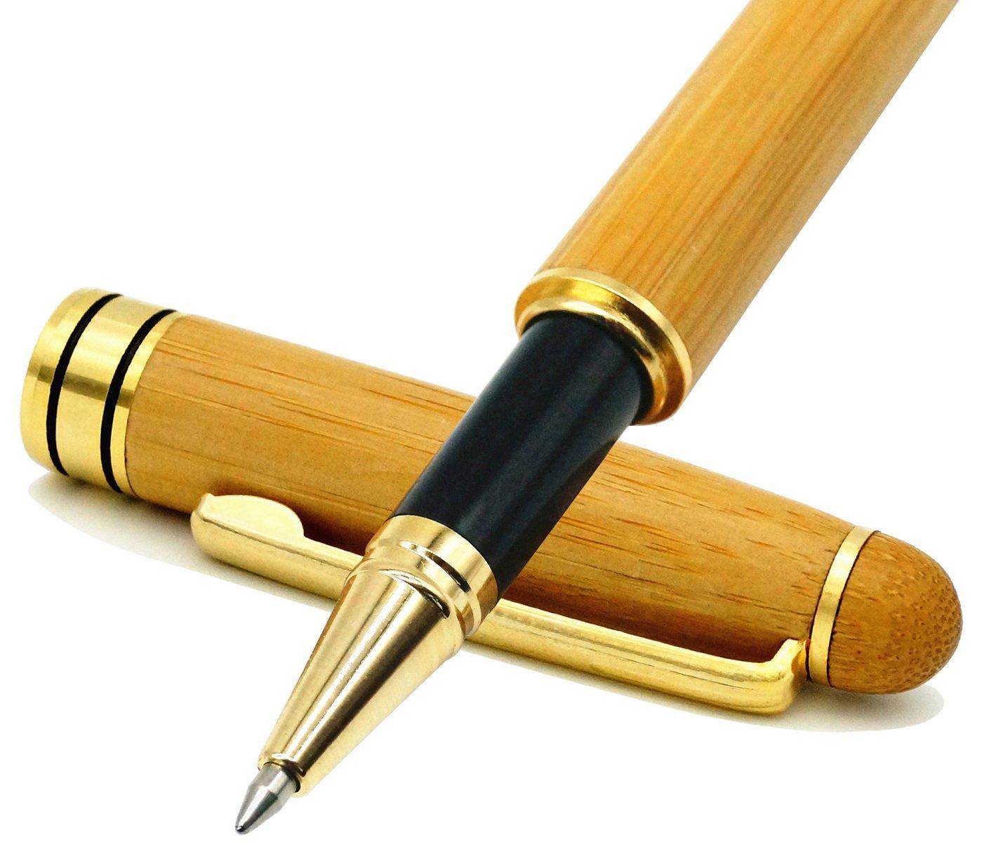 Juego de bolígrafo roller de bambú