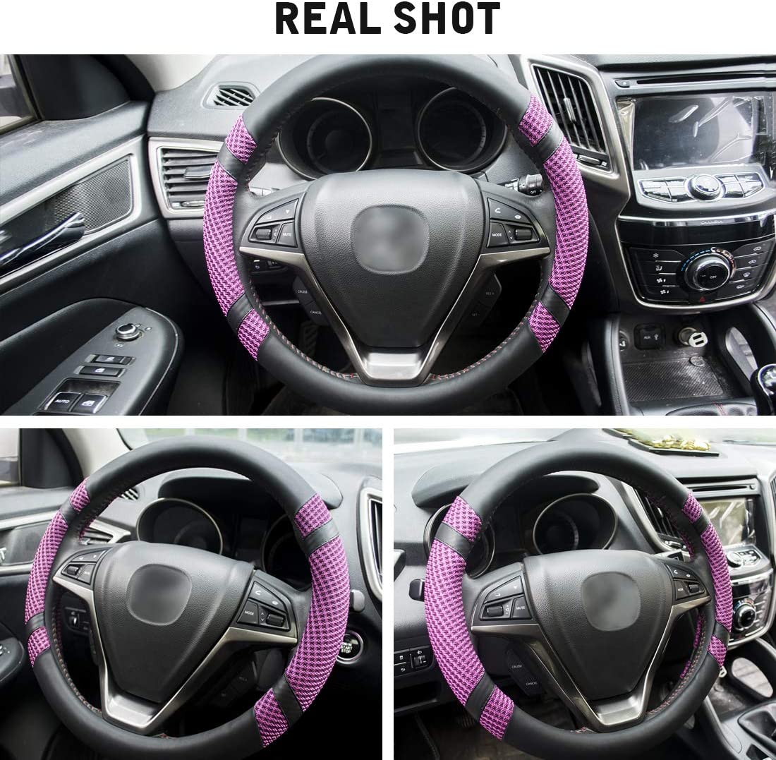Odorless Anti-Slip Breathable Warm in Winter and Cool in Summer Universal 15 Inches BOKIN Steering Wheel Cover Black Microfiber Leather and Viscose