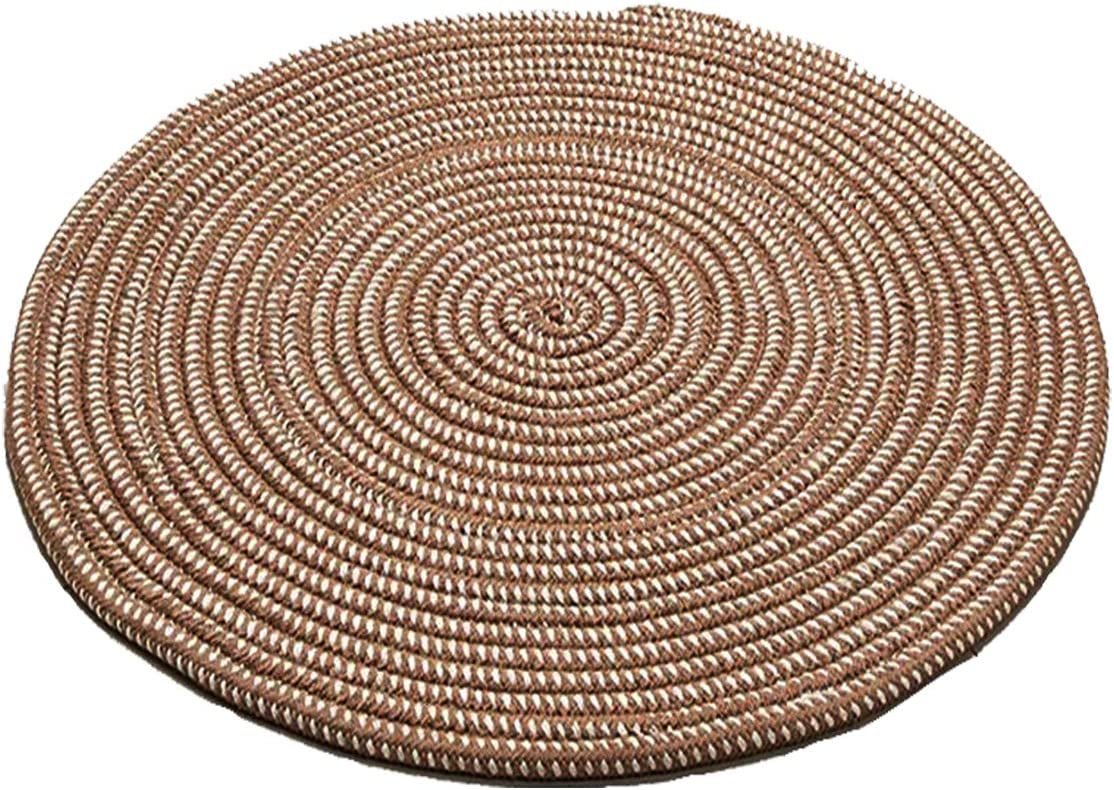 Hand Woven Round Area Rugs Living Room Bedroom Study Computer Chair Cushion Base Mat Round Carpet Lifts Basket Swivel Chair Pad Coffee Table Rug(2' Round, Dark Camel)