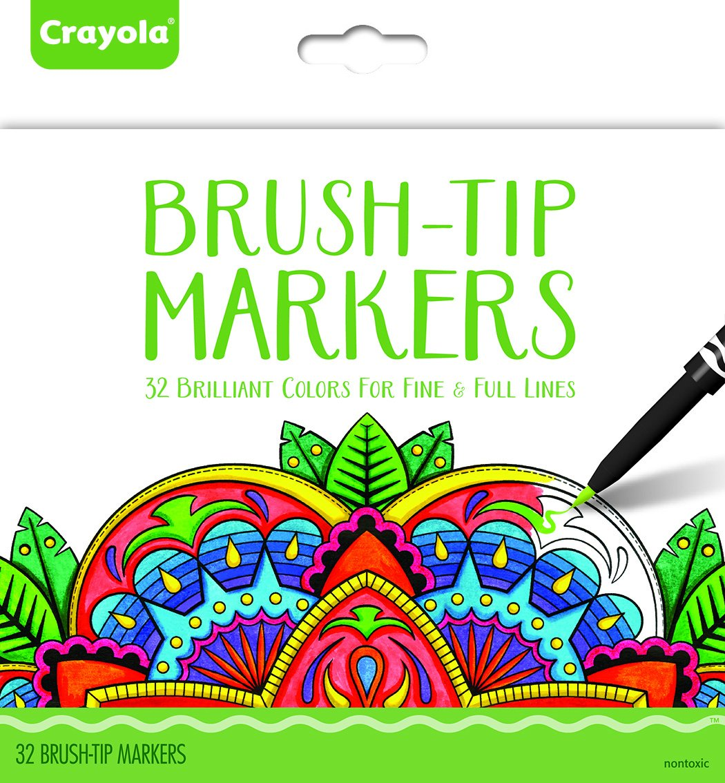 Amazon.com: Crayola Brush Tip Makers, Adult Coloring, 32 Count: Toys ...