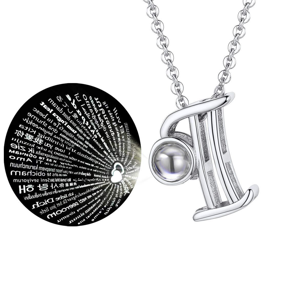 U7 Collar Mujer de Letras A-Z 50cm Ajustable Regalo para Novia Mujer Ni/ñas con Caja Proyecci/ón en 100 Idiomas de Te Amo Chapado en Oro//Platino