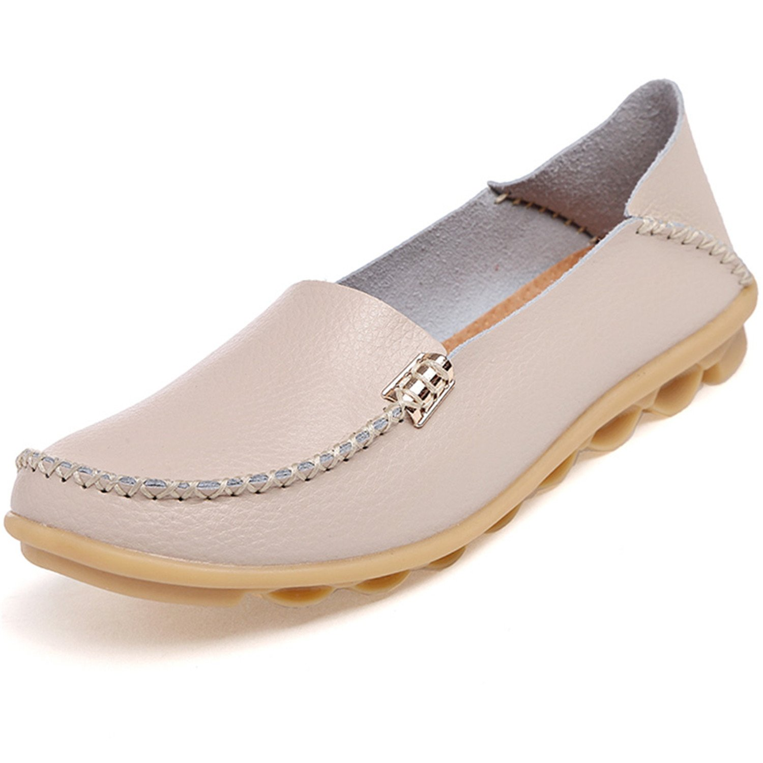 Beststore VAO Summer Candy Colors Genuine Leather Women Casual Shoes New Fashion Breathable Slip-On Peas Massage Flat Shoes Plus Size 35-44 B078FSR7WG 5 B(M) US|Beige