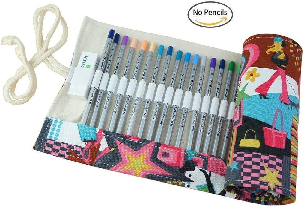 Estuche enrollable multiusos para lapiceros, de CreooGo, ideal para la escuela, la oficina, etc., color Pretty Women 72-Holes: Amazon.es: Oficina y papelería